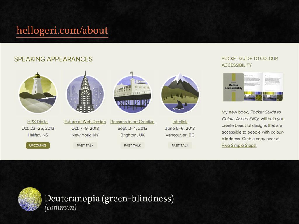 hellogeri.com/about Deuteranopia (green-blindne...