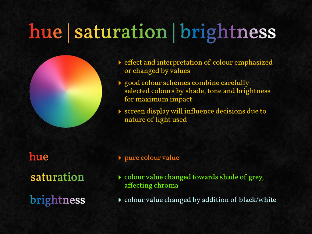 ‣ effect and interpretation of colour emphasized...
