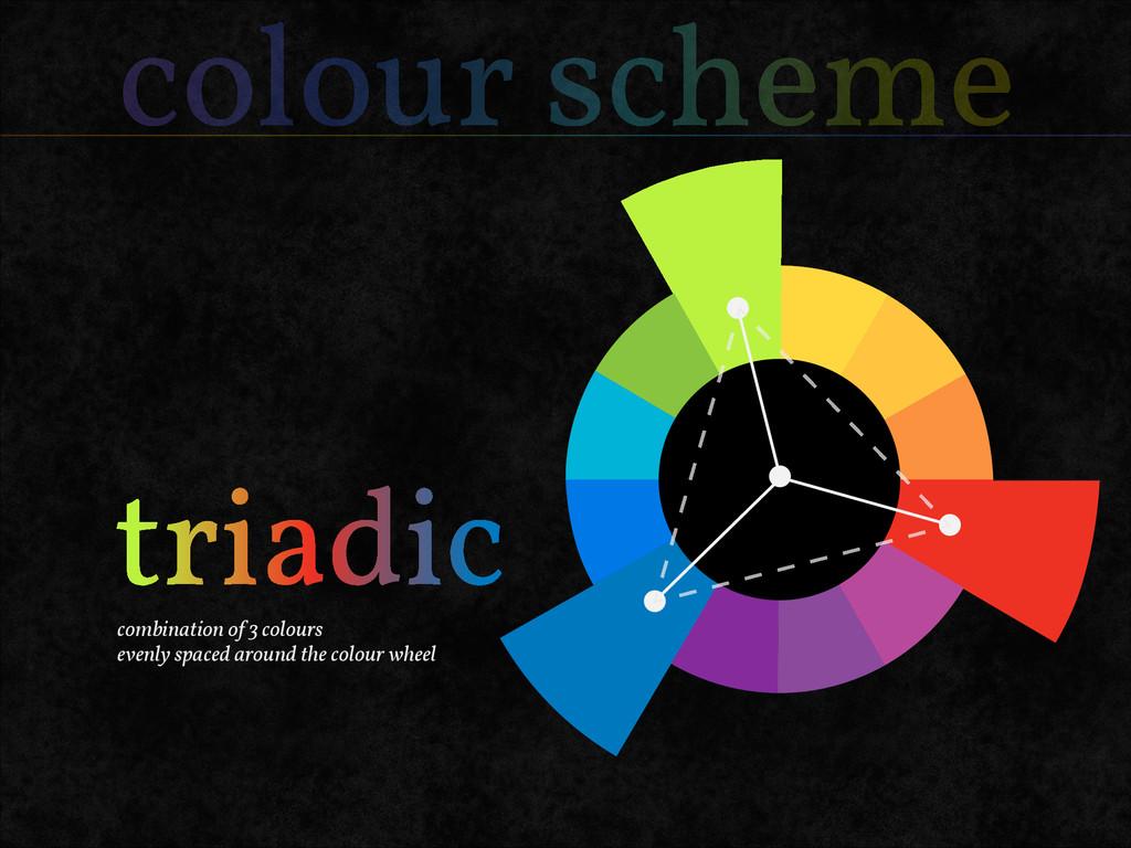 colour scheme combination of 3 colours evenly s...