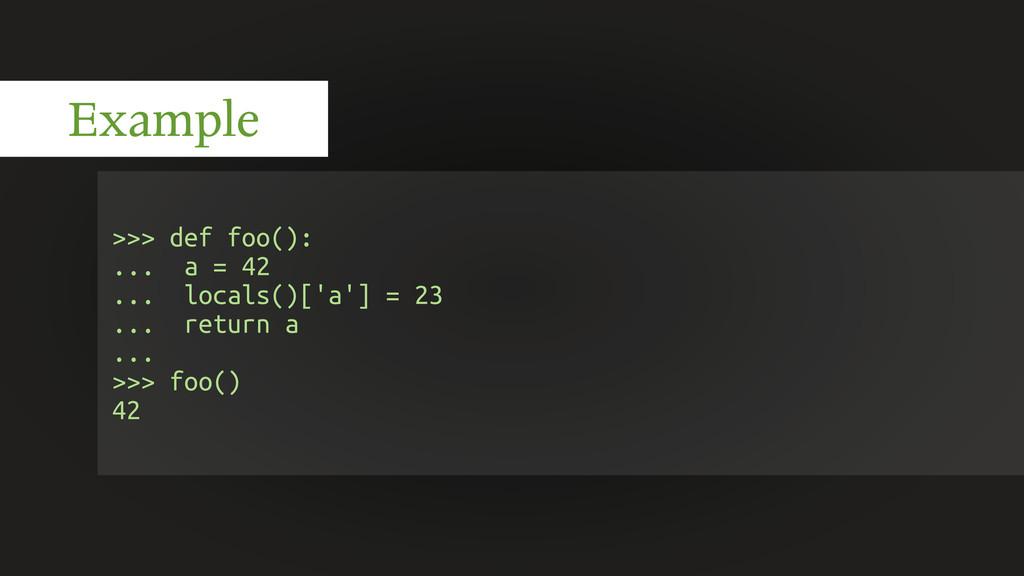>>> def foo(): ... a = 42 ... locals()['a'] = 2...