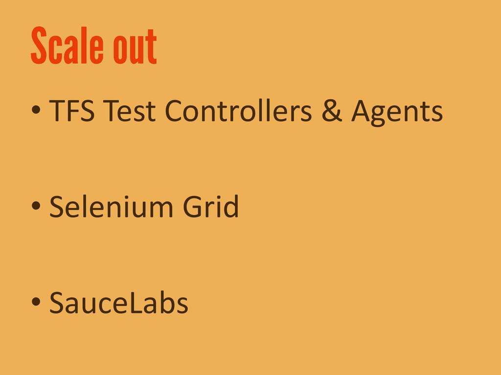 • TFS Test Controllers & Agents • Selenium Grid...