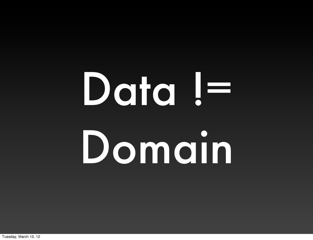 Data != Domain Tuesday, March 13, 12
