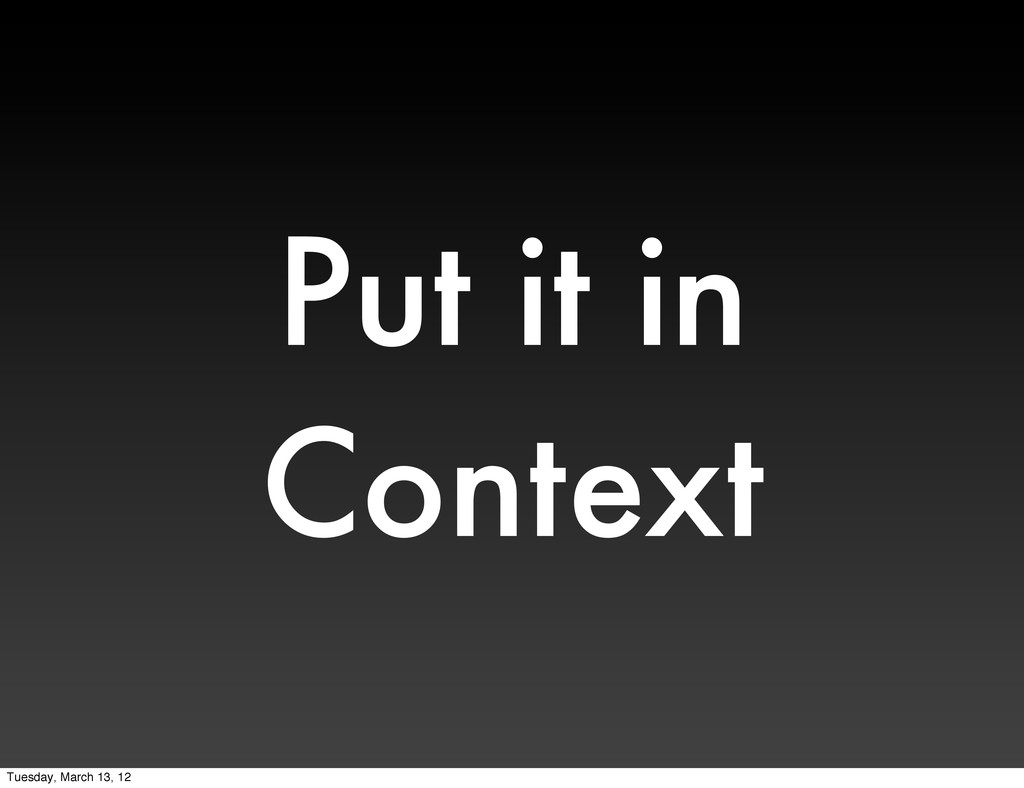 Put it in Context Tuesday, March 13, 12