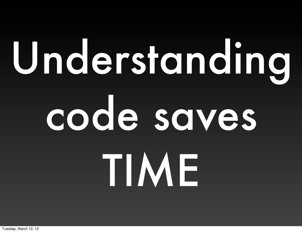 Understanding code saves TIME Tuesday, March 13...