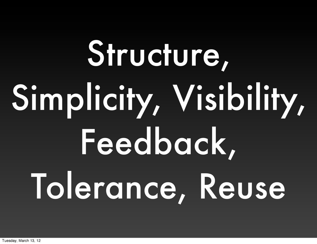 Structure, Simplicity, Visibility, Feedback, To...