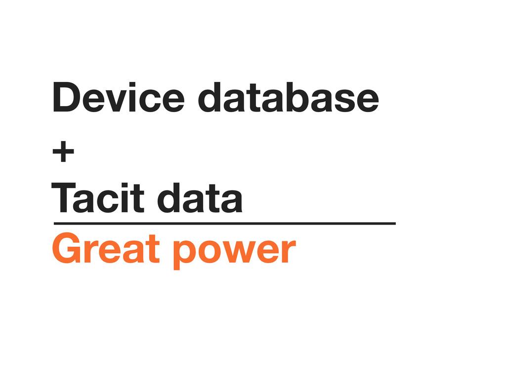 Device database + Tacit data Great power