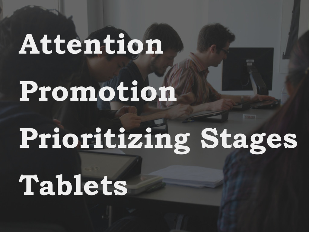 Attention Promotion Prioritizing Stages Tablets