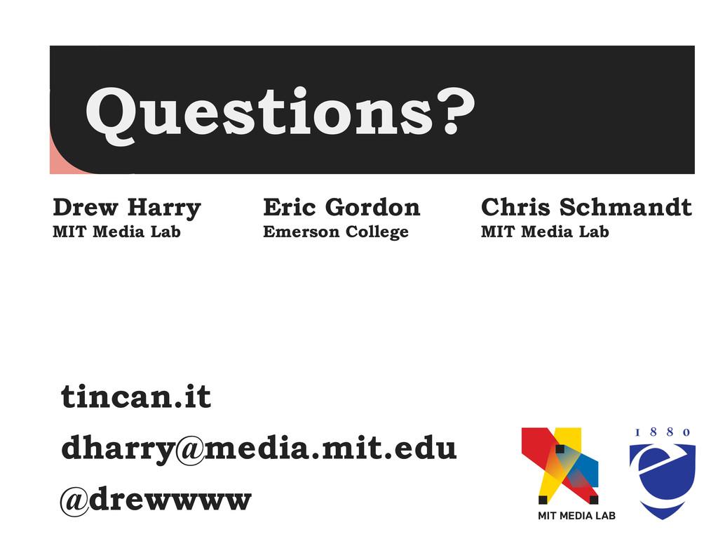 Questions? Drew Harry MIT Media Lab Eric Gordon...