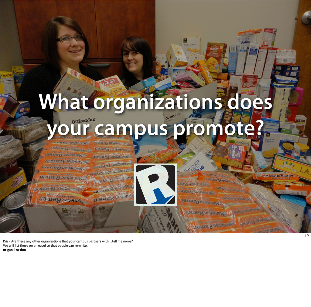 What organizations does your campus promote? 12...
