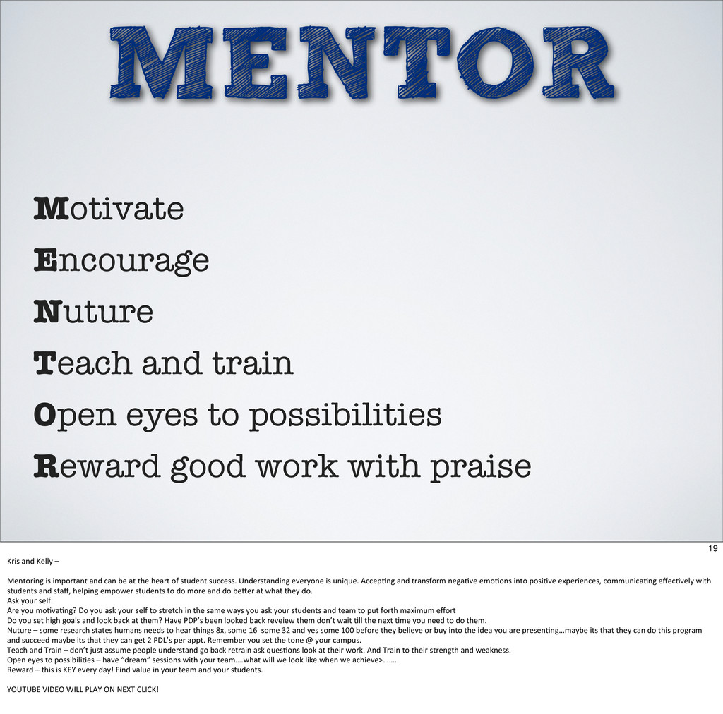 MENTOR Motivate Encourage Nuture Teach and trai...
