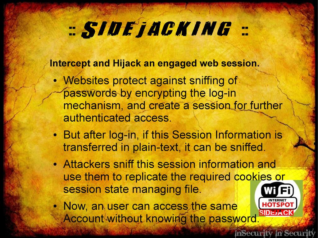:: Sidejacking :: Intercept and Hijack an engag...