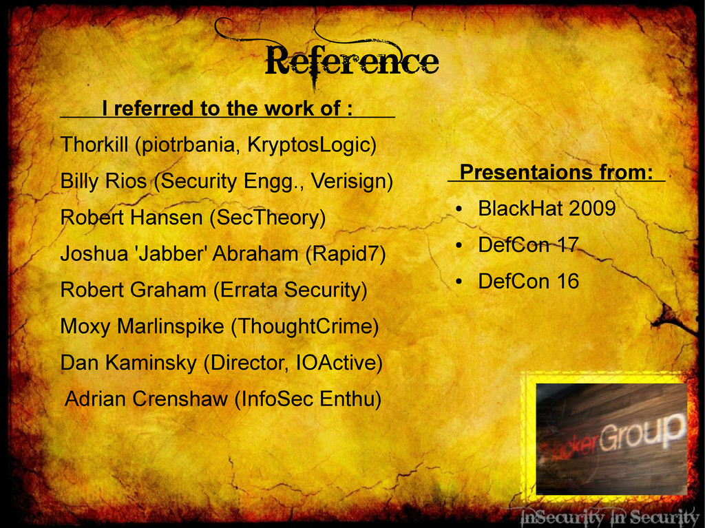 Reference I referred to the work of : Thorkill ...