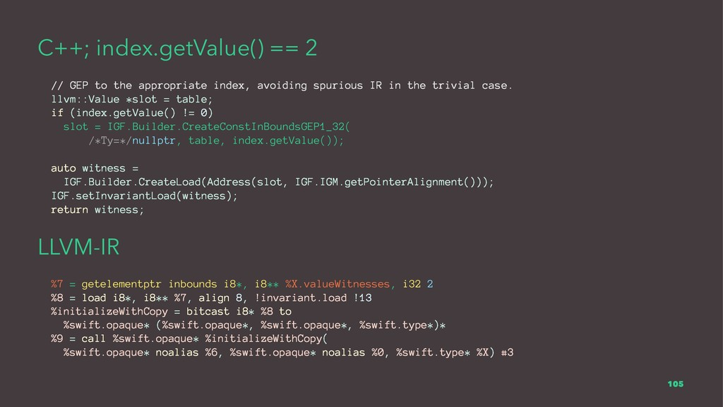 C++; index.getValue() == 2 // GEP to the approp...