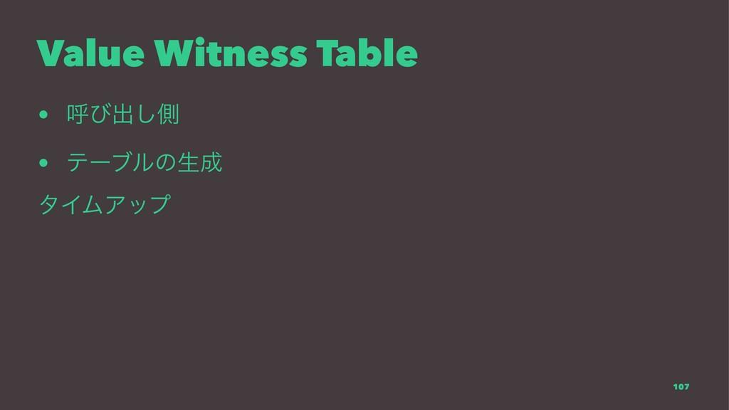 Value Witness Table • ݺͼग़͠ଆ • ςʔϒϧͷੜ λΠϜΞοϓ 107
