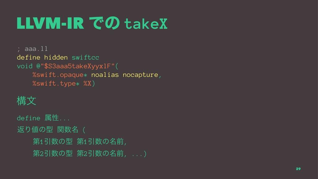 LLVM-IR Ͱͷ takeX ; aaa.ll define hidden swiftcc...