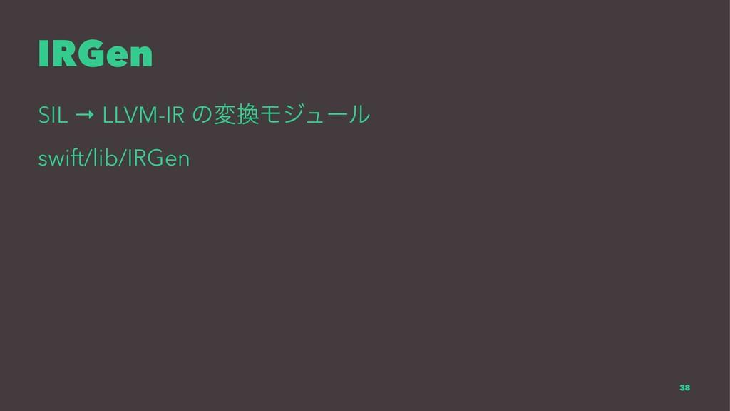IRGen SIL → LLVM-IR ͷมϞδϡʔϧ swift/lib/IRGen 38
