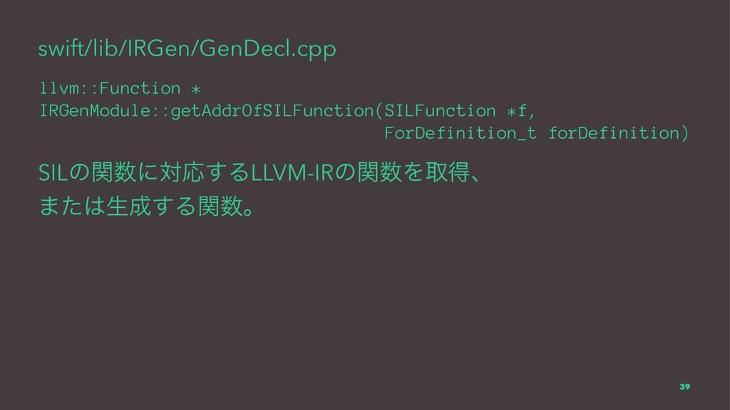 swift/lib/IRGen/GenDecl.cpp llvm::Function * IR...