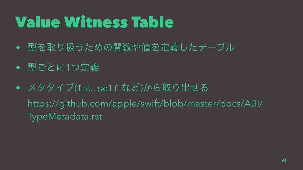 Value Witness Table • ܕΛऔΓѻ͏ͨΊͷؔΛఆٛͨ͠ςʔϒϧ • ...