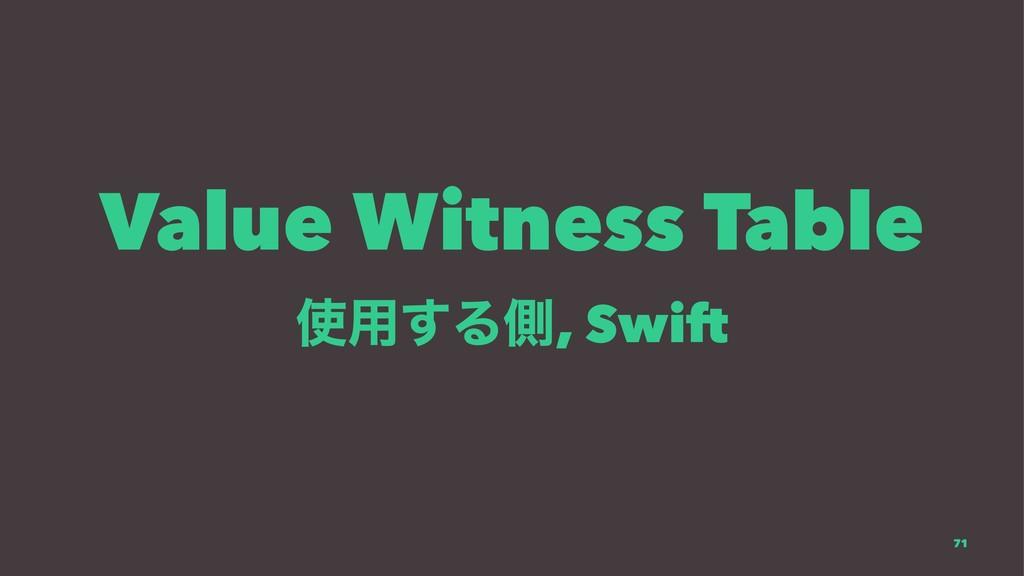Value Witness Table ༻͢Δଆ, Swift 71