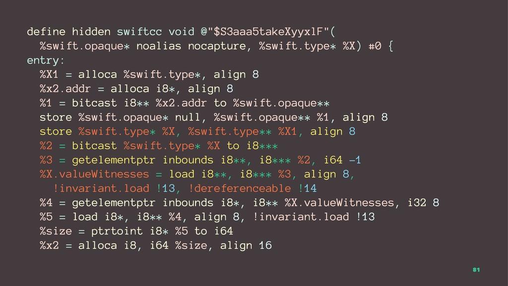 """define hidden swiftcc void @""""$S3aaa5takeXyyxlF""""..."""