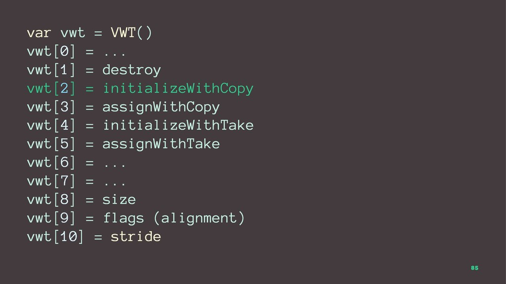 var vwt = VWT() vwt[0] = ... vwt[1] = destroy v...