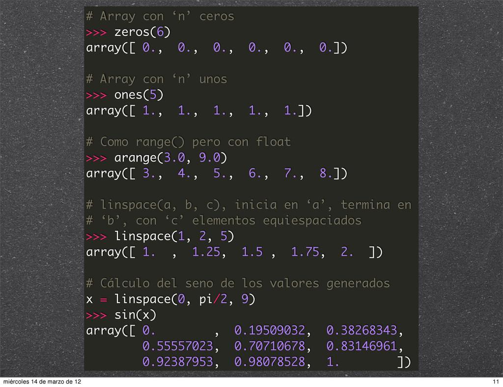 # Array con 'n' ceros >>> zeros(6) array([ 0., ...