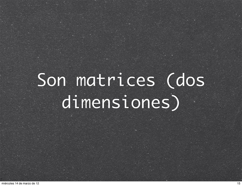 Son matrices (dos dimensiones) 15 miércoles 14 ...