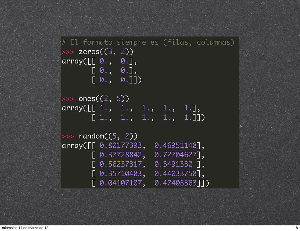 # El formato siempre es (filas, columnas) >>> z...