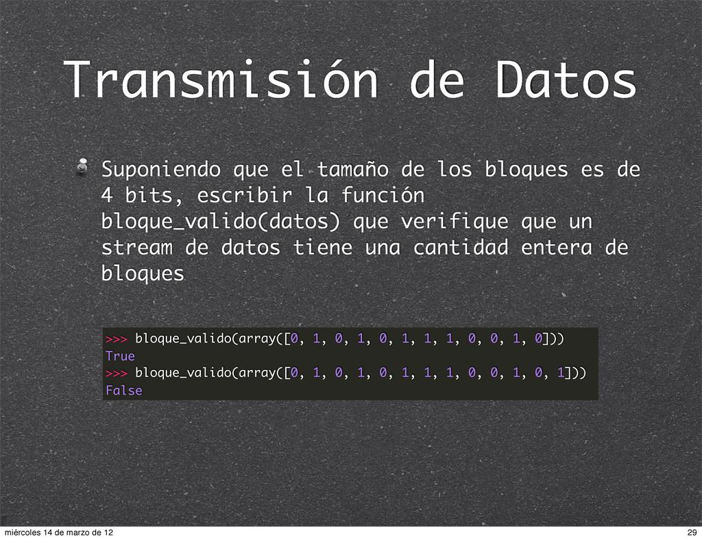 Transmisión de Datos Suponiendo que el tamaño d...