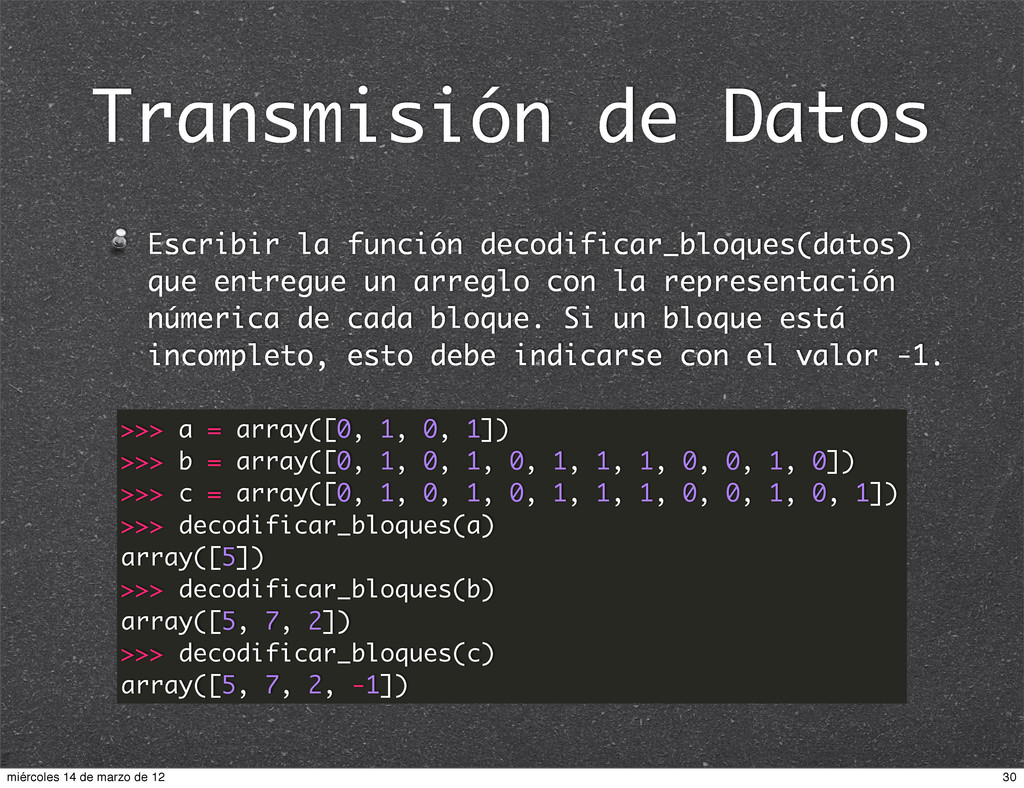Transmisión de Datos Escribir la función decodi...