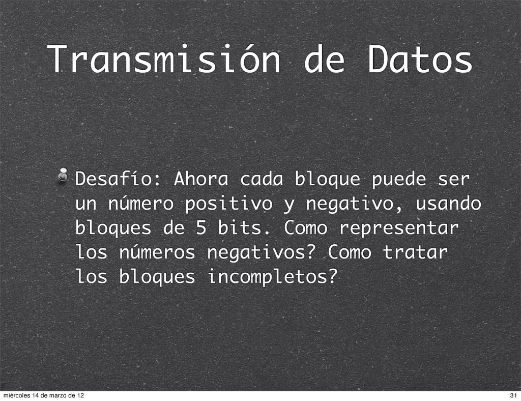 Transmisión de Datos Desafío: Ahora cada bloque...