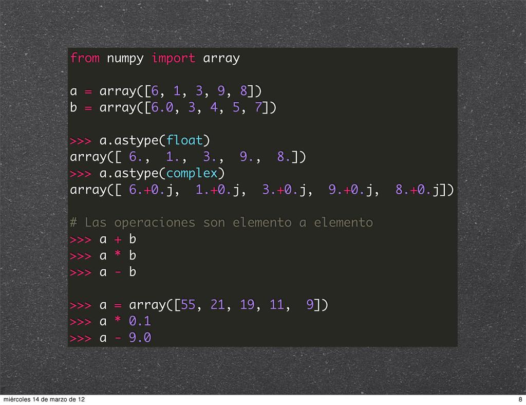 from numpy import array a = array([6, 1, 3, 9, ...