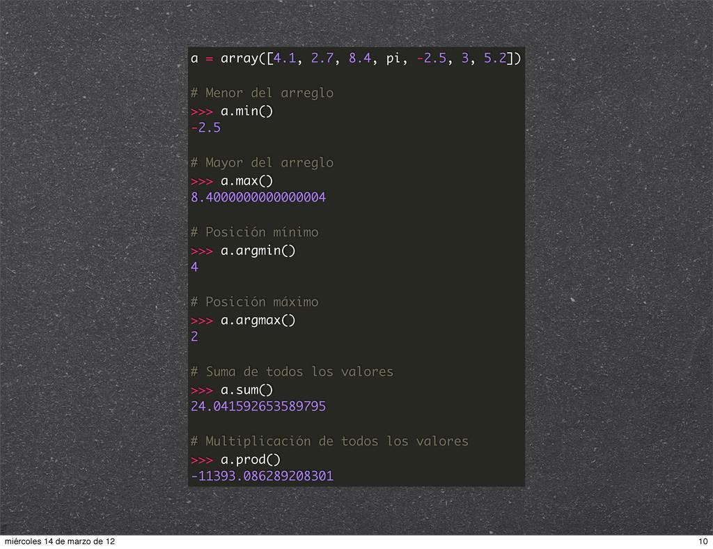 a = array([4.1, 2.7, 8.4, pi, -2.5, 3, 5.2]) # ...