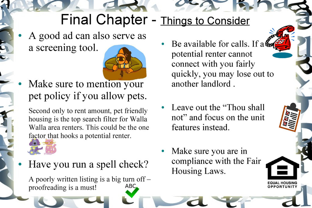 Final Chapter - Things to Consider ● A good ad ...