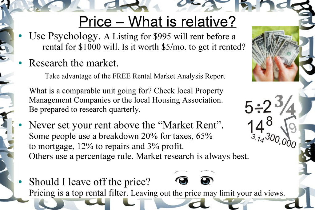 Price – What is relative? ● Use Psychology. A L...