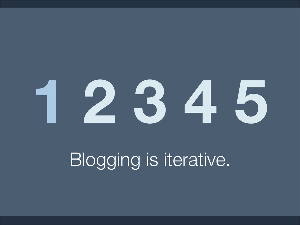 1 2 3 4 5 Blogging is iterative.