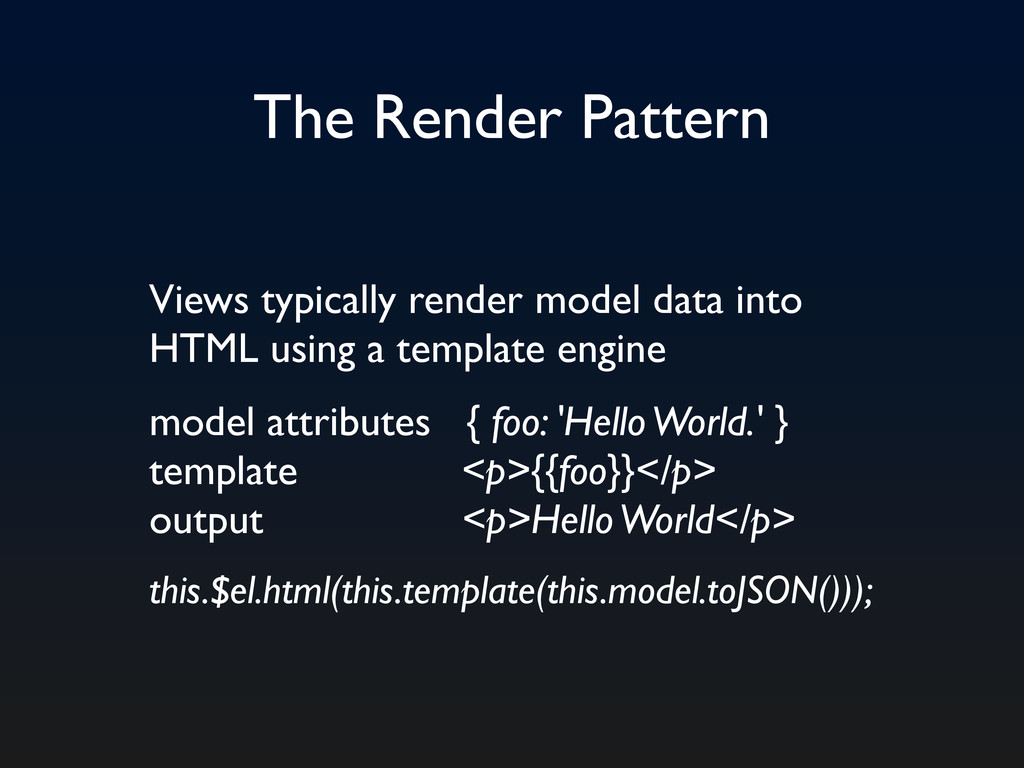 The Render Pattern Views typically render model...