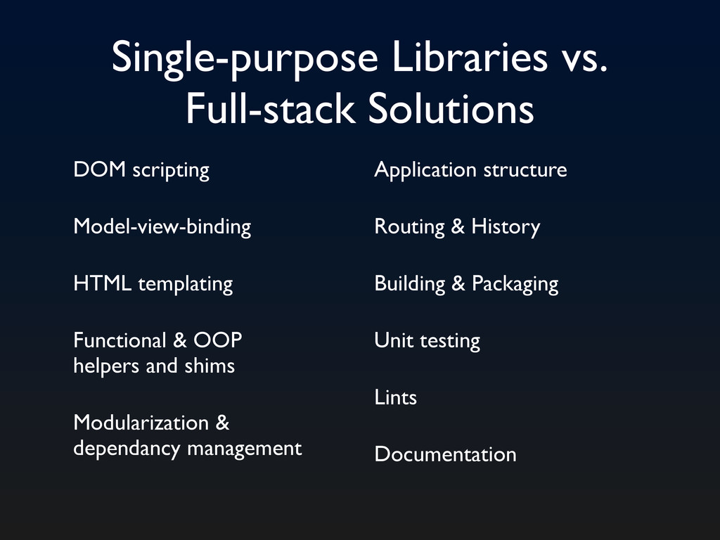 Single-purpose Libraries vs. Full-stack Solutio...