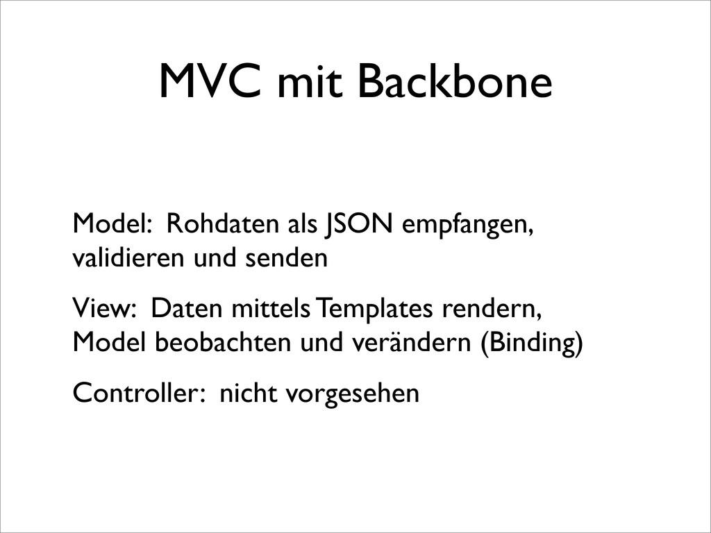 MVC mit Backbone Model: Rohdaten als JSON empfa...