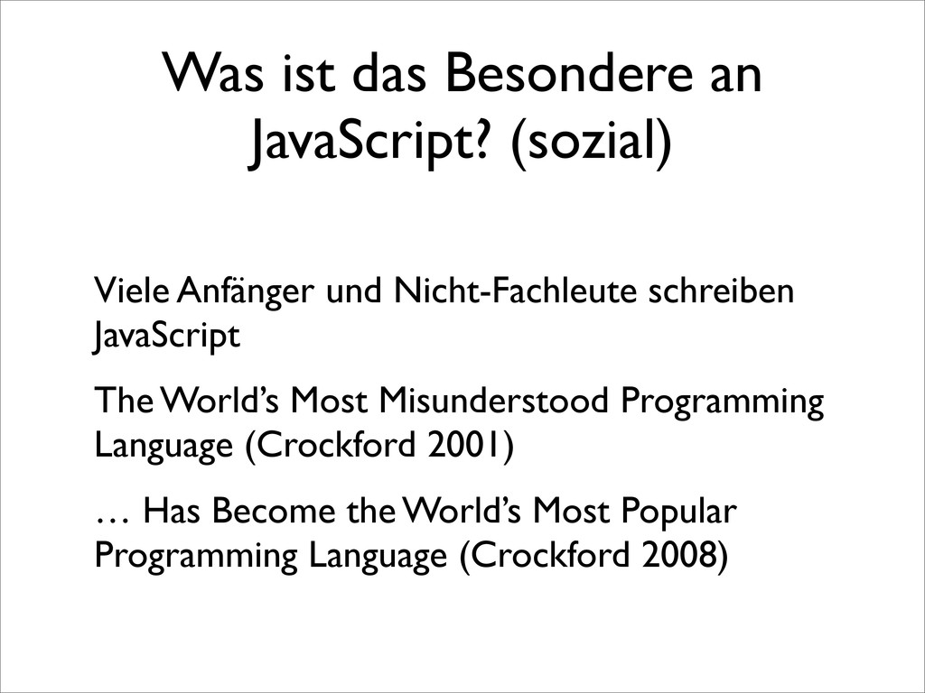 Was ist das Besondere an JavaScript? (sozial) V...
