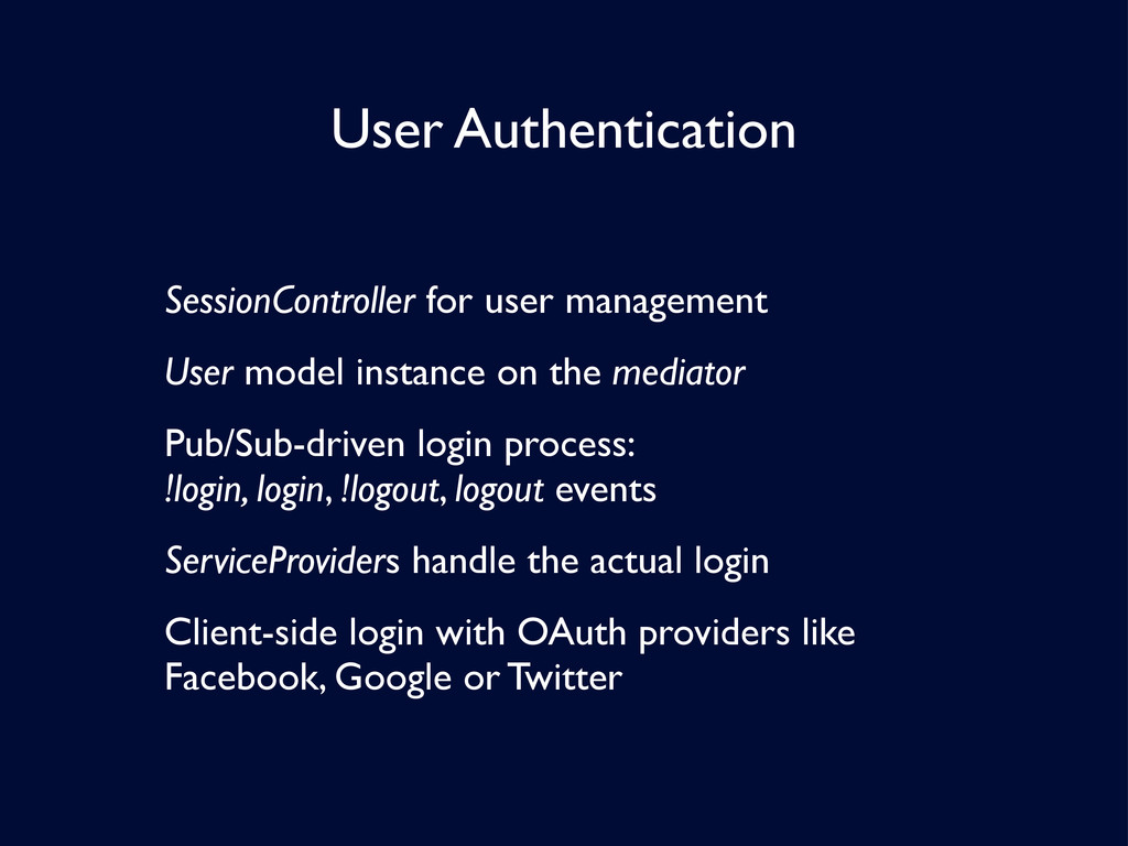 User Authentication SessionController for user ...