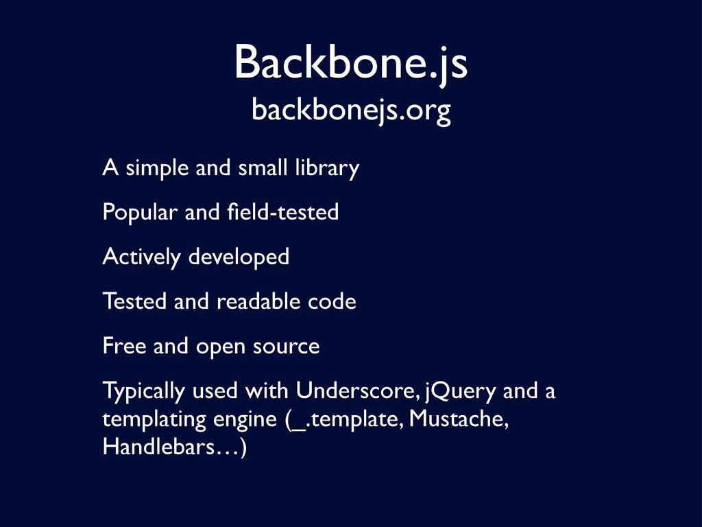 Backbone.js backbonejs.org A simple and small l...