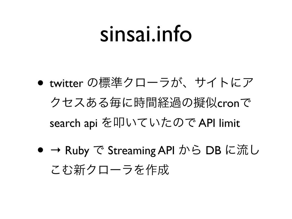 sinsai.info • twitter ͷඪ४Ϋϩʔϥ͕ɺαΠτʹΞ Ϋηε͋Δຖʹؒܦ...