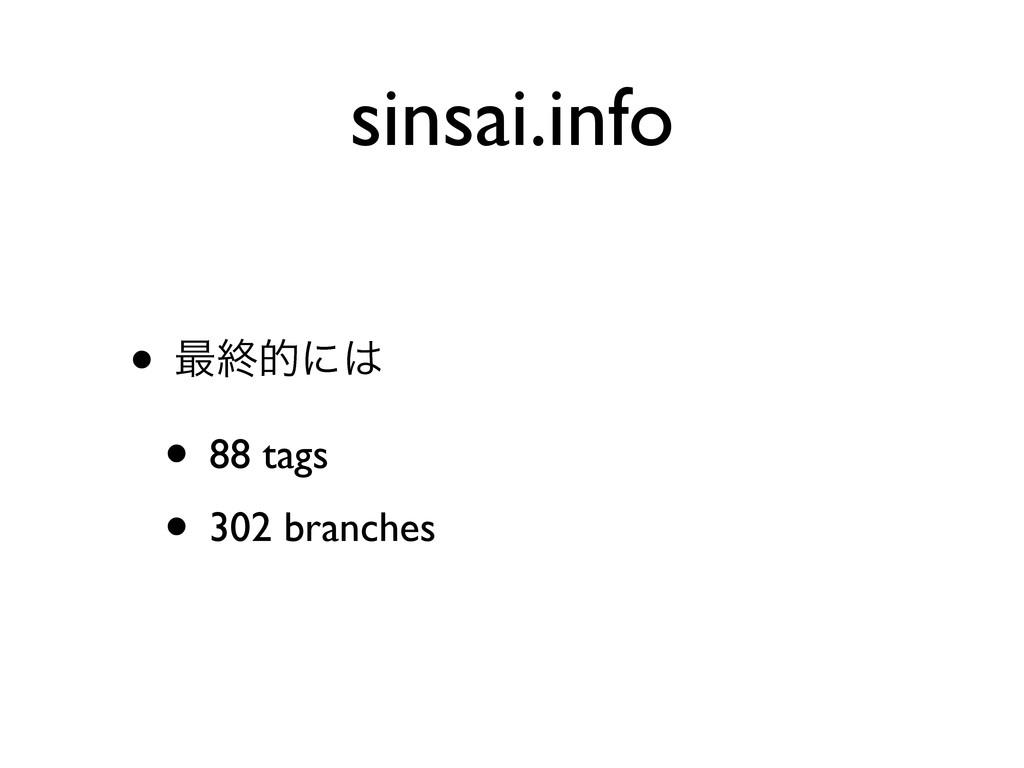 sinsai.info • ࠷ऴతʹ • 88 tags • 302 branches