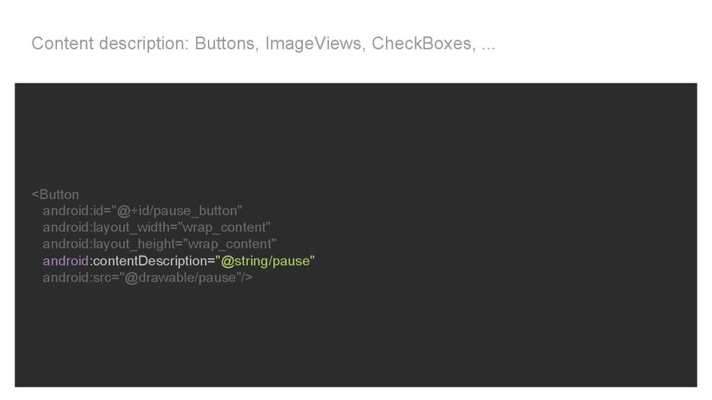 Content description: Buttons, ImageViews, Check...