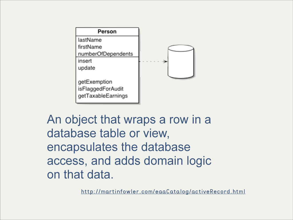 An object that wraps a row in a database table ...