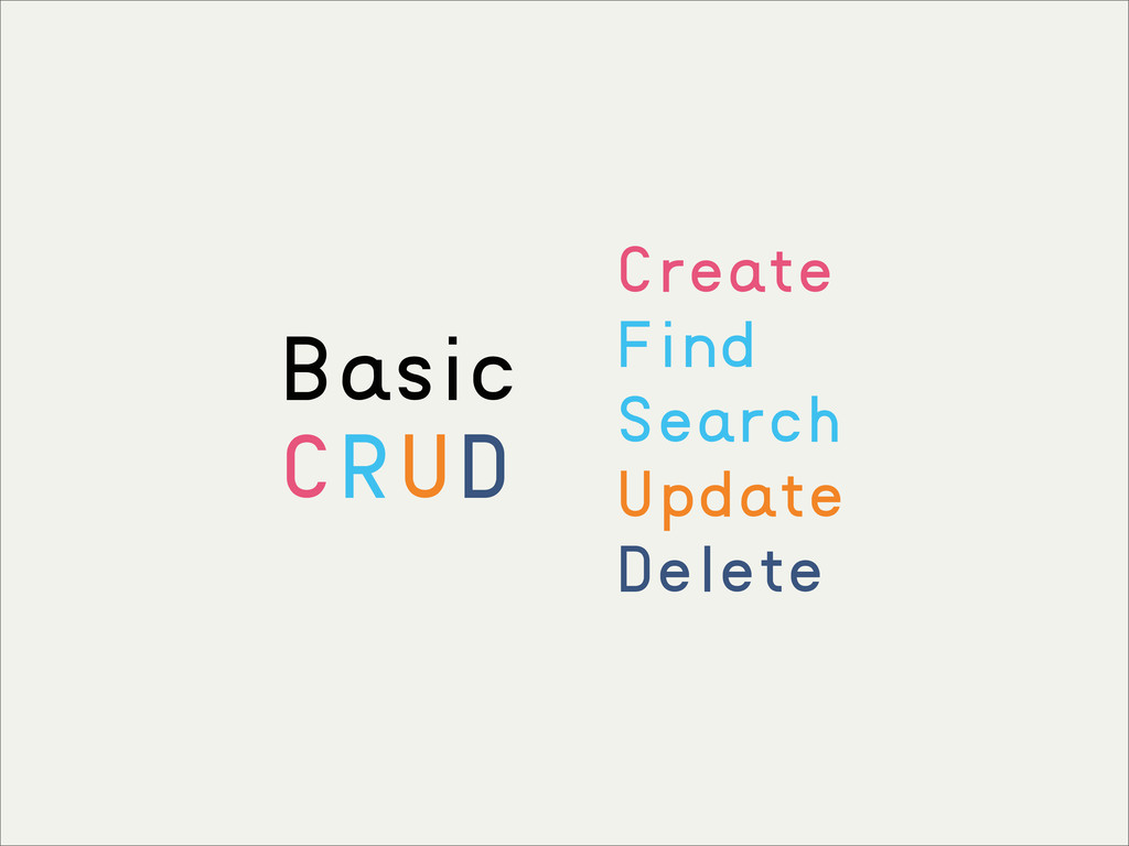 Create Find Search Update Delete Basic CRUD
