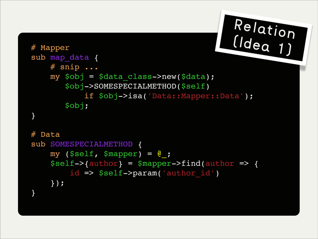 # Mapper sub map_data { # snip ... my $obj = $d...