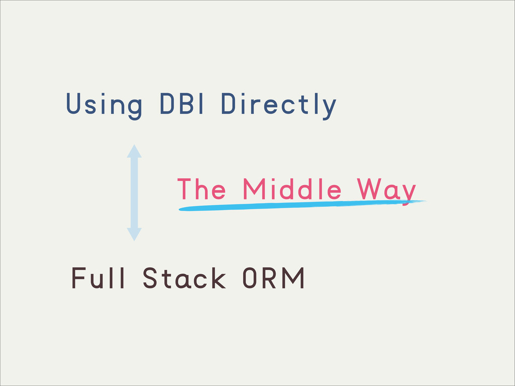 Using DBI Directly Full Stack ORM The Middle Way