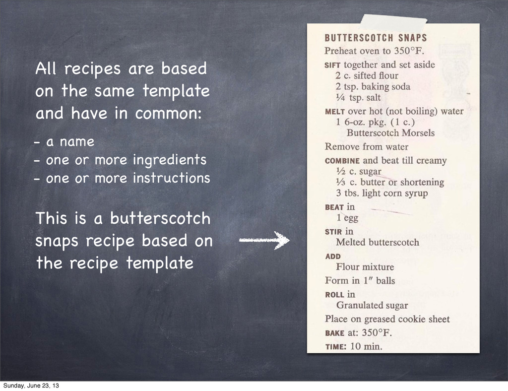 All recipes are based on the same template and ...